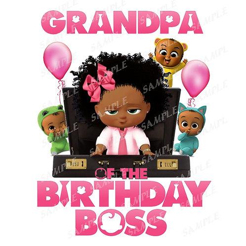Boss Baby Birthday Shirt, Iron on. African American Girl. Grandpa