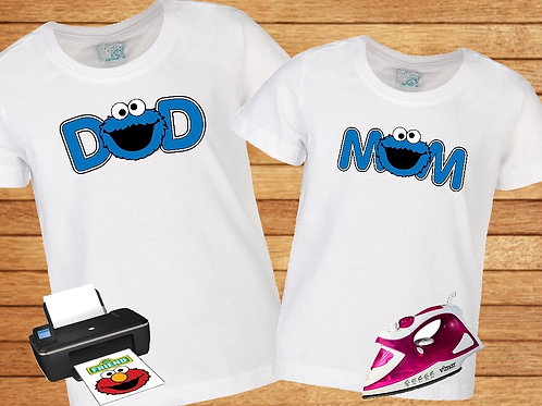 Sesame Street Cookie Dad Mom iron on transfer. Instant Download.
