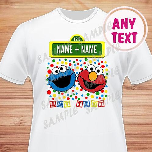 Sesame Street Elmo Cookie Birthday Shirt Heat transfer. Any Name.