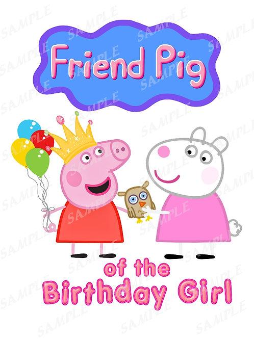 Peppa Pig Friend Pig shirt, Iron on transfer, Friend instant download