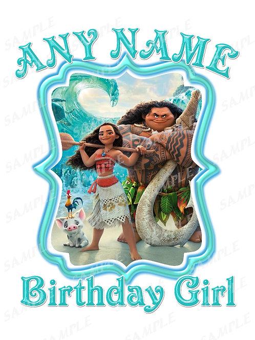 Moana Birthday t-shirt. Moana Transfer. Birthday Girl.