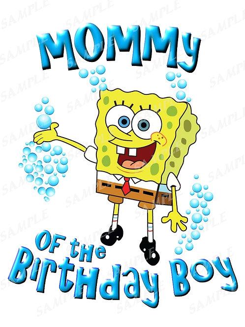 SpongeBob Birthday Shirt. SpongeBob Iron on Transfer. Mommy Shirt