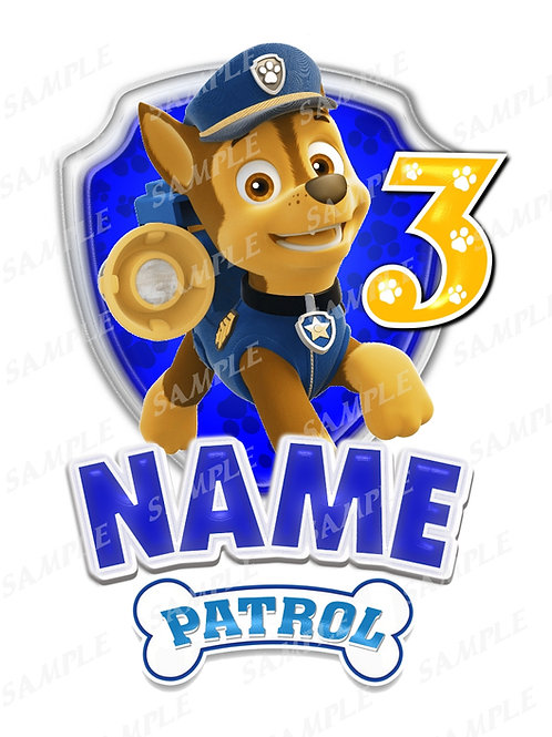 paw patrol chase iron on transfer