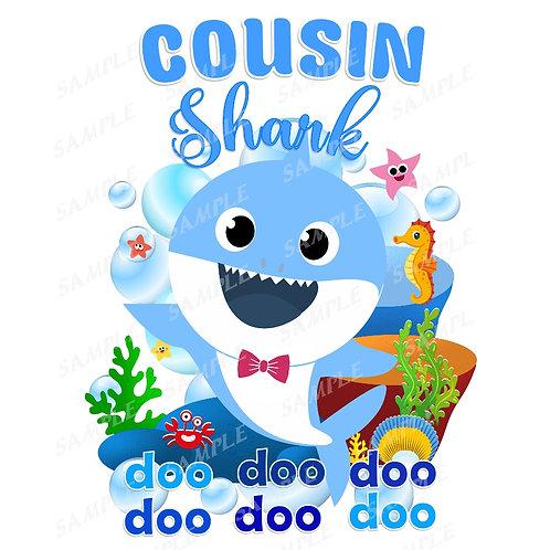 Baby Shark Birthday Shirt. Baby Shark Iron on Transfer. Cousin