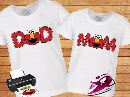 Sesame Street Elmo Mom Dad iron on transfer. Instant Download.
