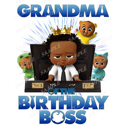 Boss Baby Birthday Shirt, Iron on. African American Boy. Grandma