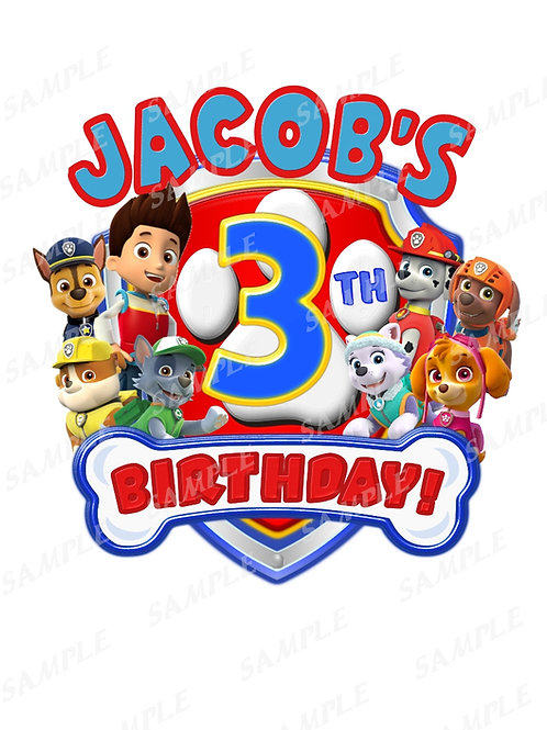 Paw patrol | Birthday Boy | download within 24 hours | iron on transfer