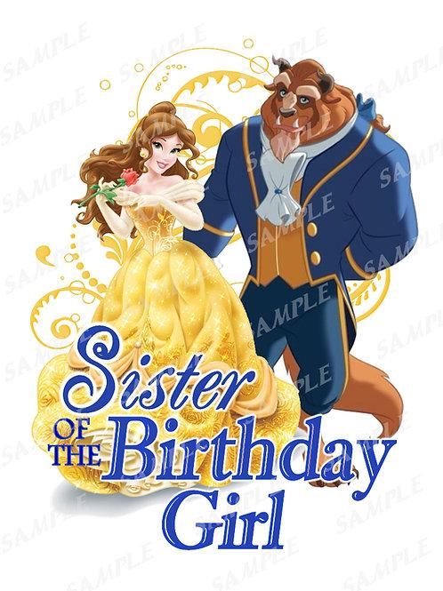 Beauty and the Beast Birthday Shirt, Heat Transfer, iron on. Sister