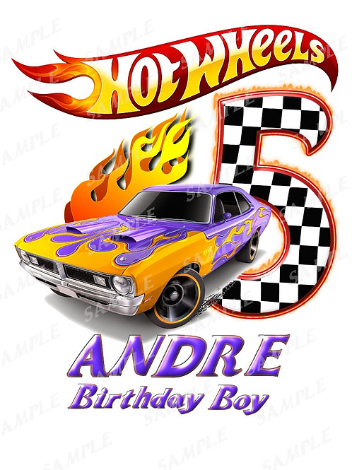 Hot wheels birthday boy, iron on transfer, design #8. Any name age