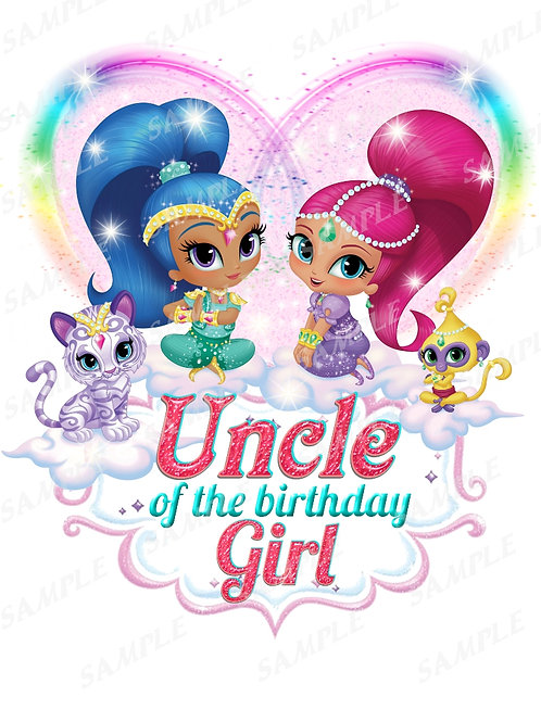 Shimmer and Shine Birthday Shirt, Iron on Transfer Family shirts Uncle
