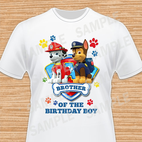 Paw Patrol Chase Marshall Birthday Shirt, Iron on. Shield. Brother