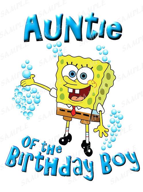 SpongeBob Birthday Shirt. SpongeBob Iron on Transfer. Auntie Shirt