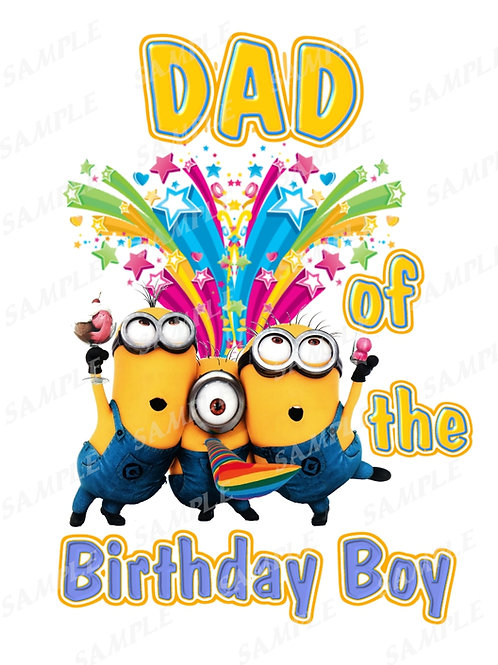 Minions Birthday shirt. Minions Iron on transfer. Download Dad