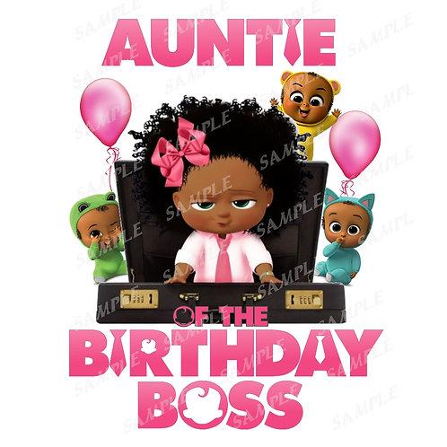 Boss Baby Birthday Shirt, Iron on. African American Girl. Auntie