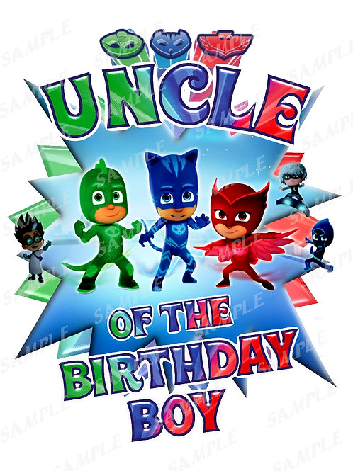 PJ Masks Birthday Shirt. PJ Masks Iron on Transfer. Uncle Outfit.