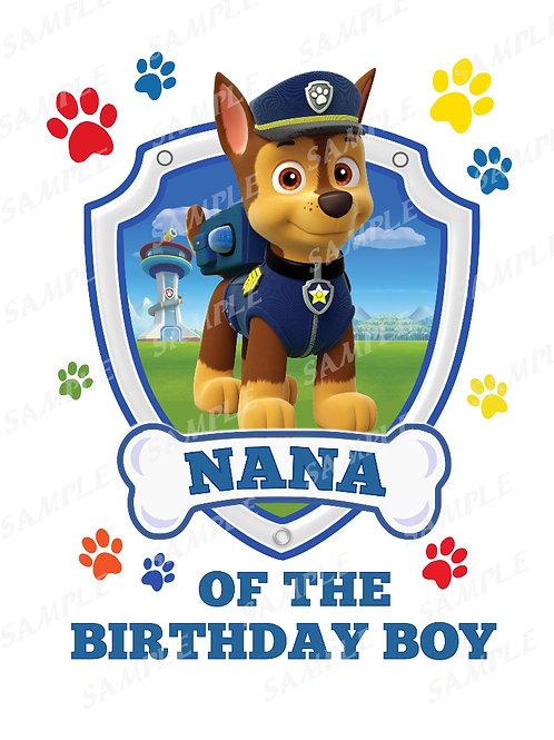 Chase Paw Patrol Birthday Shirt, Iron on transfer. Nana images jpg