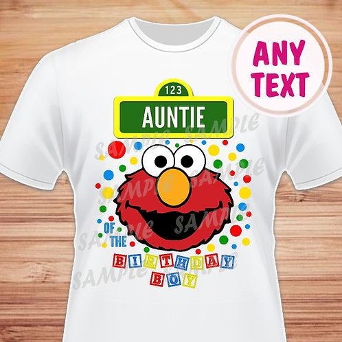 Sesame Street Elmo Birthday Shirt Heat transfer Auntie of Birthday Boy