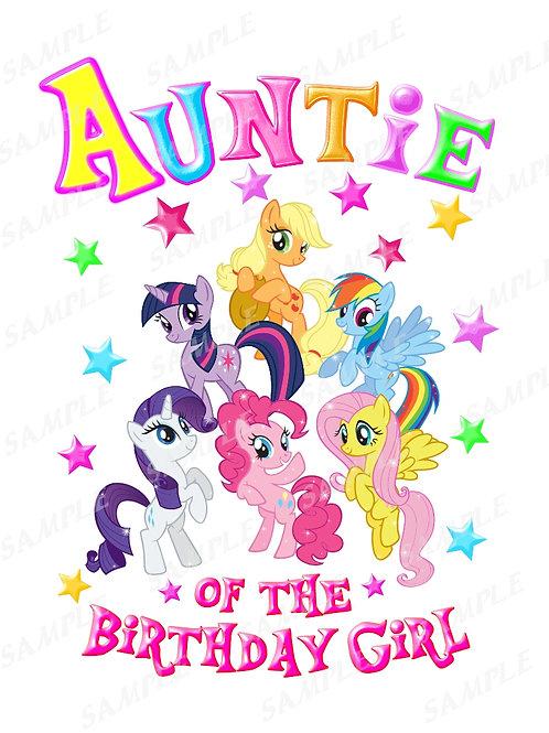 My Little Pony Birthday Shirt, Iron on Transfer. Printable Auntie