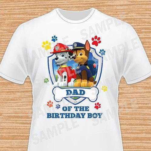 Paw Patrol Chase Marshall Birthday Shirt, Iron on transfer. Dad