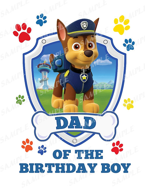 Paw patrol Chase | dad | instant download | iron on transfer