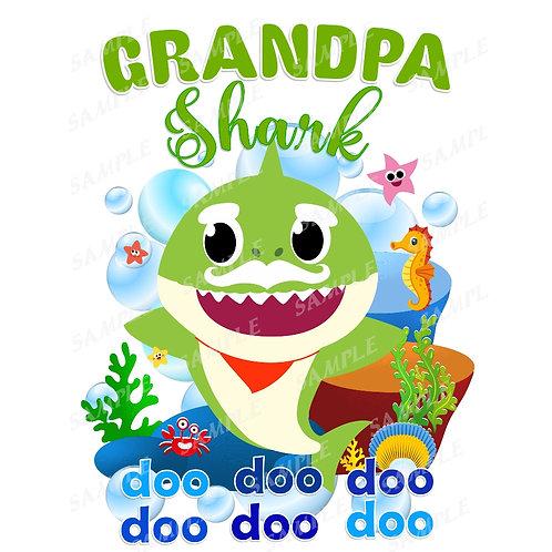 Baby Shark Birthday Shirt. Baby Shark Iron on Transfer. Grandpa