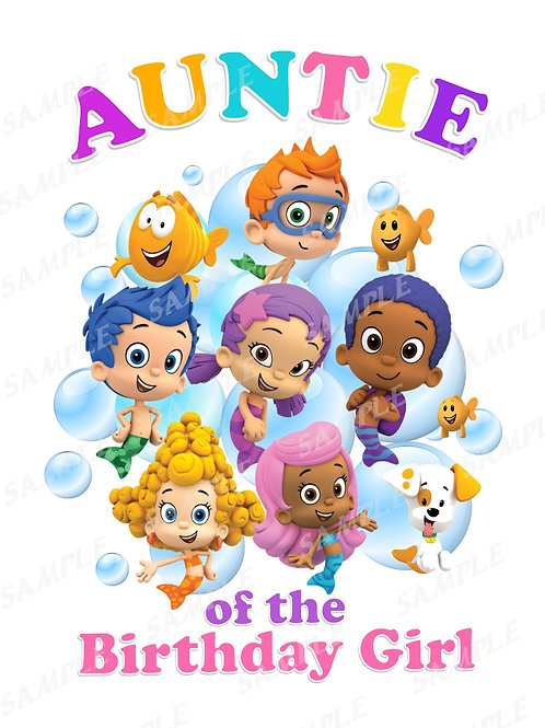 Bubble Guppies Birthday Shirt. Bubble Guppies Iron on Transfer. Auntie