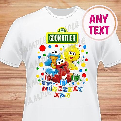 Sesame Street Birthday Shirt. Iron on Transfer. Godmother of the Birthday Boy.