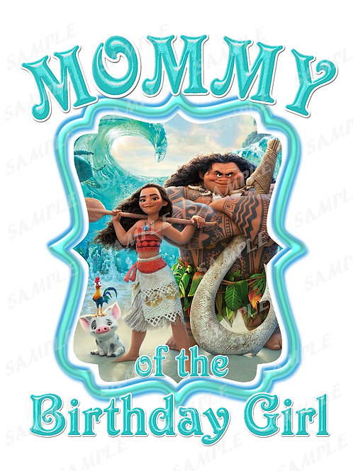 Moana Birthday t-shirt. Moana Transfer. Mommy shirt.