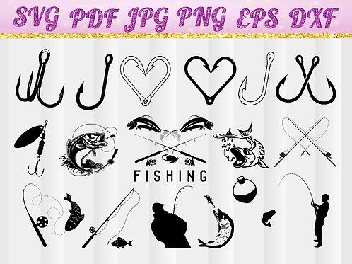 Fishing hooks svg, Hooks svg, fishing tackle svg, angler svg, fishing svg