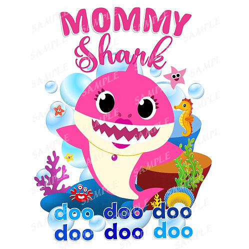 Baby Shark Birthday Shirt. Baby Shark Iron on Transfer. Mommy