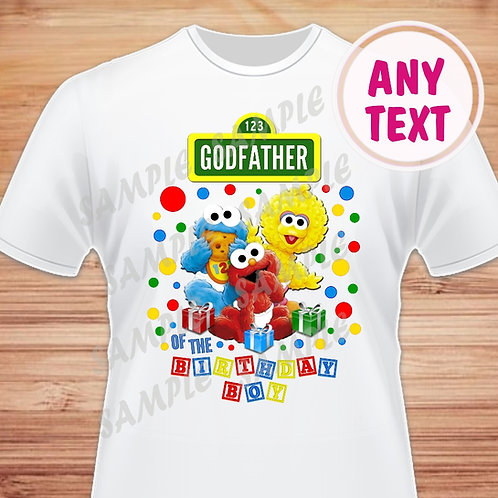 Sesame Street Birthday Shirt. Iron on Transfer. Godfather of the Birthday Boy.
