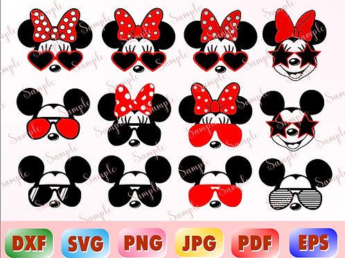 Mickey Glasses SVG, Mickey Sunglasses SVG, Mickey Ears SVG.