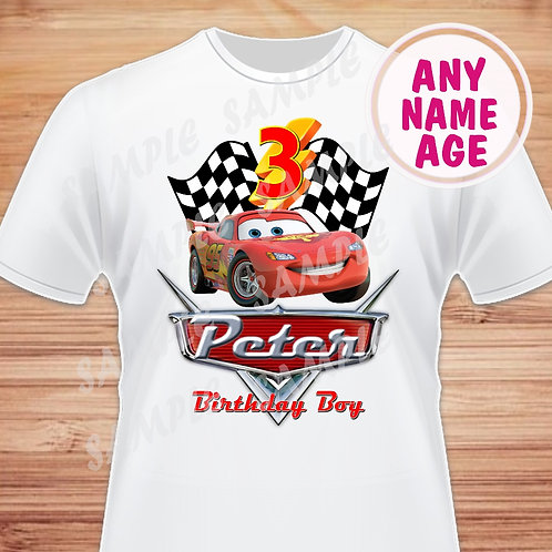 Disney Cars Birthday Shirt. Disney Cars Iron on. Birthday Boy shirt. 3