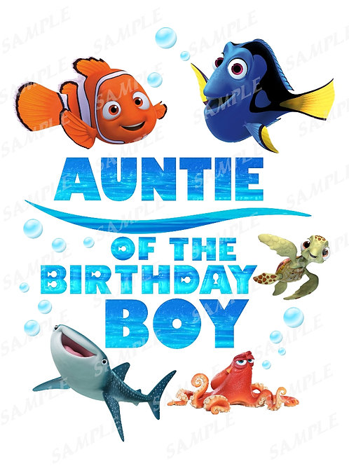 Finding Dory Birthday Shirt, Iron on Transfer, Printable png. Auntie