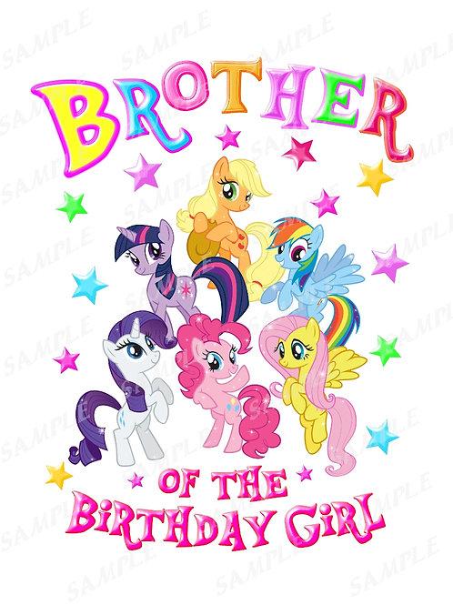 My Little Pony Birthday Shirt, Iron on Transfer. Printable Brother