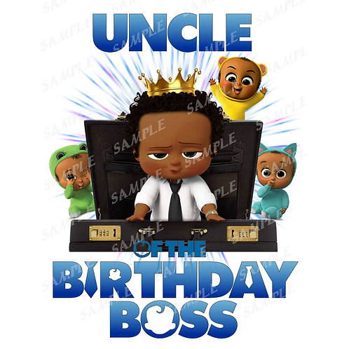 Boss Baby Birthday Shirt, Iron on. African American Boy. Uncle
