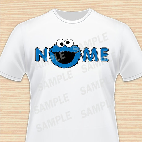 Sesame Street Cookie Head Shirt Heat transfer. Any Name.