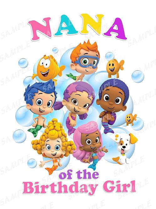Bubble Guppies Birthday Shirt. Bubble Guppies Iron on Transfer. Nana