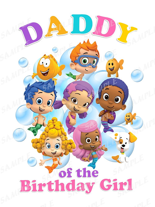 Bubble Guppies Birthday Shirt. Bubble Guppies Iron on Transfer. Daddy