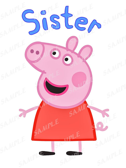 Peppa Pig Sister Shirt, Iron on Transfer. PNG, JPG, printable