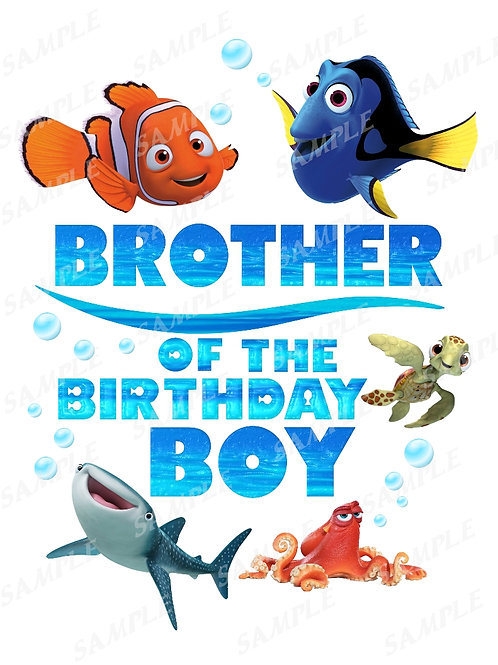Finding Dory Birthday Shirt, Iron on Transfer, Printable png. Brother
