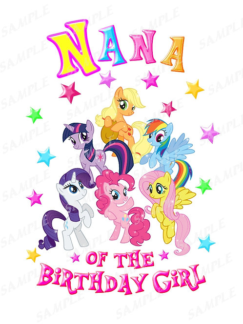 My Little Pony Birthday Shirt, Iron on Transfer. Printable nana