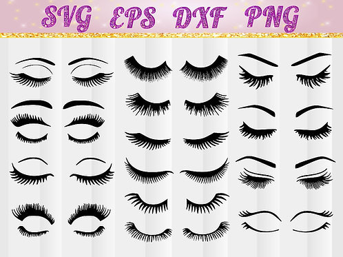 Eye lash bundle SVG, DXF, cut file, cameo, Cricut, perfect for t shirts, make up bags, decals, cups