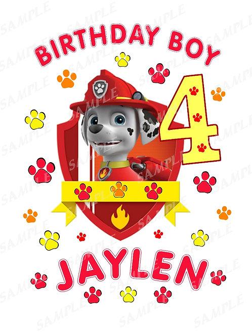 paw patrol marshall birthday boy