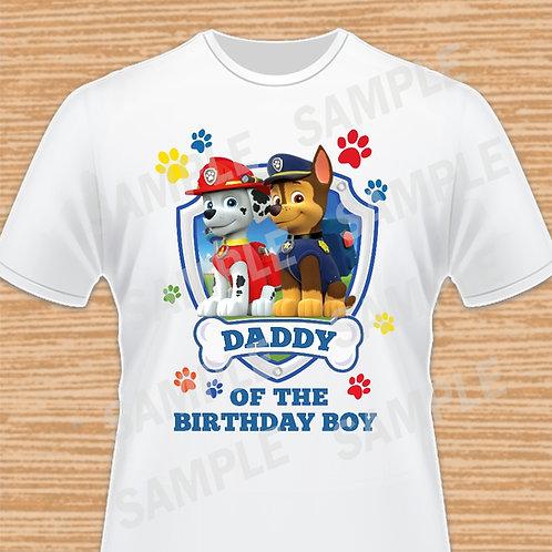 Paw Patrol Chase Marshall Birthday Shirt, Iron on transfer. Daddy