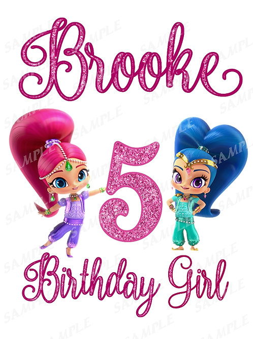 Shimmer and Shine Iron On Transfer, Shimmer and Shine Any Name Shirt