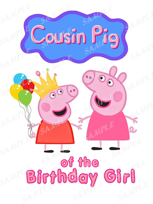 Peppa Pig Cousin Pig shirt, iron on transfer, instant download png