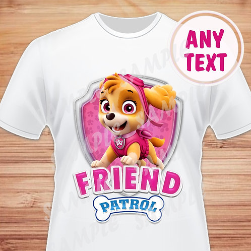 Paw Patrol Skye Birthday Shirt. Paw Patrol Iron on Transfer. Friend