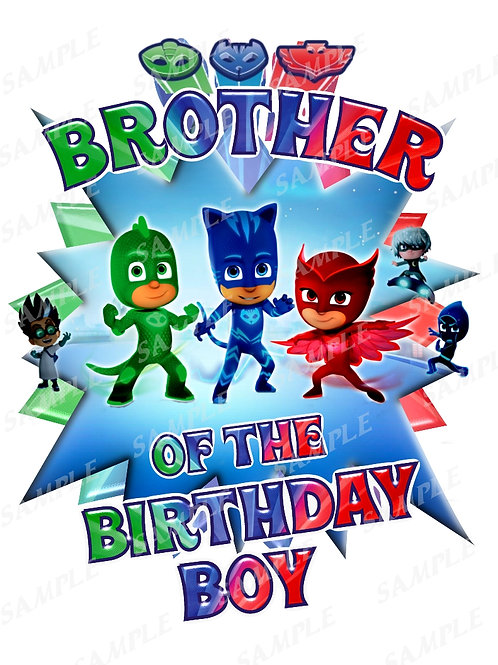 PJ Masks Birthday Shirt. PJ Masks Iron on Transfer. Brother