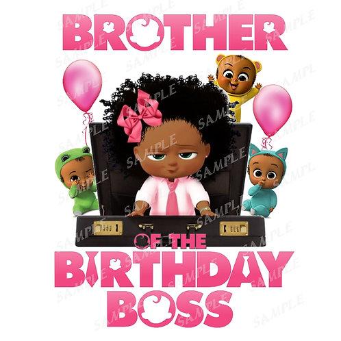 Boss Baby Birthday Shirt, Iron on. African American Girl. Brother